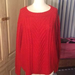 Red Cable Sweater - Sz XL